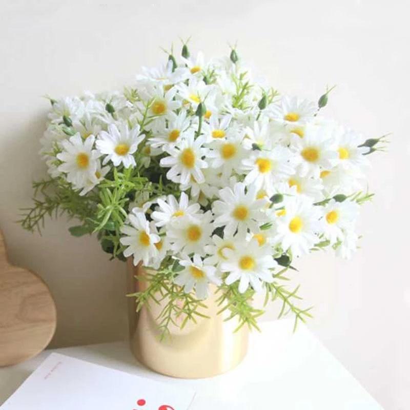 Искусственные цветы, шелковые белые красивые хризантемы, 6 веток, имитация маргариток, искусственные цветы, украшение для дома, сада, офиса