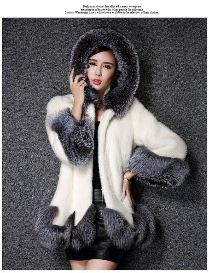 Modèle européen américain Imitation fourrure manteau femme longueur moyenne modèle avec capuchon Imitation vison fourrure manteau femme Jacketm manteau de fourrure