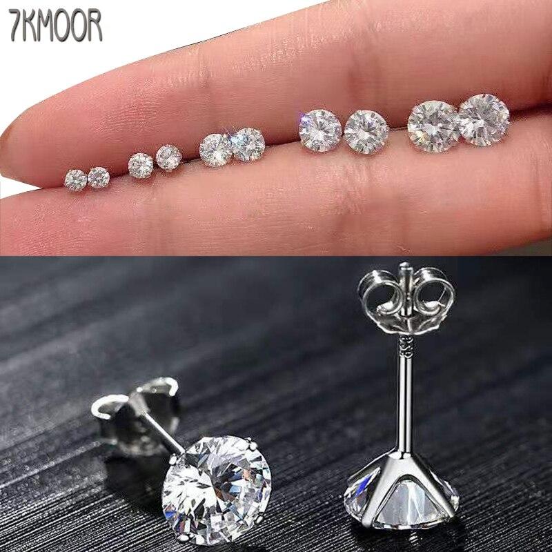Genuine Real Pure Solid 925 Sterling Silver Stud Earrings Jewelry Black Clear Purple Cubic Zircon Female Earrings Bijoux Gift