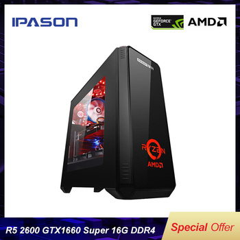 IPASON Gaming Computer R5 2600/New Gen GTX1660SUPER Compared With 1660TI High Performance Vedio Card/D4 16G RAM/256G NVME M.2