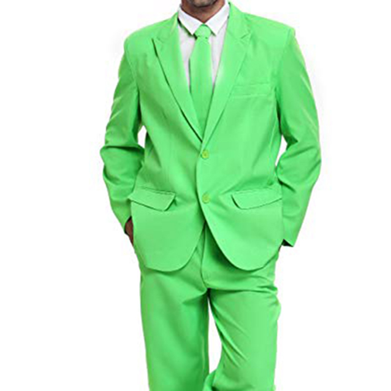 Luminous Green Two Buttons Mens Party Suit Solid Color Leisure Suit For Holiday Party Two Pieces Suit Jacket With Tie & Pants