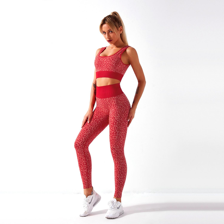 Conjunto deportivo sin costuras para mujer, ropa deportiva de leopardo para gimnasio, Sujetador deportivo y Leggings de cintura alta, sin costuras, 2 uds.