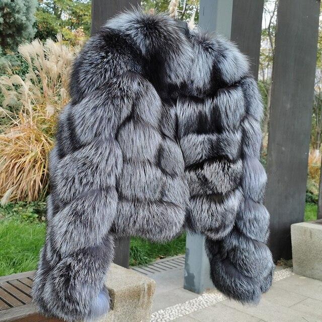 MAO mao KÔNG mùa đông thực cáo lông Áo khoác nữ vải dù tự nhiên thật cáo lông nữ áo khoác nữ áo Khoác Da Lót Lông