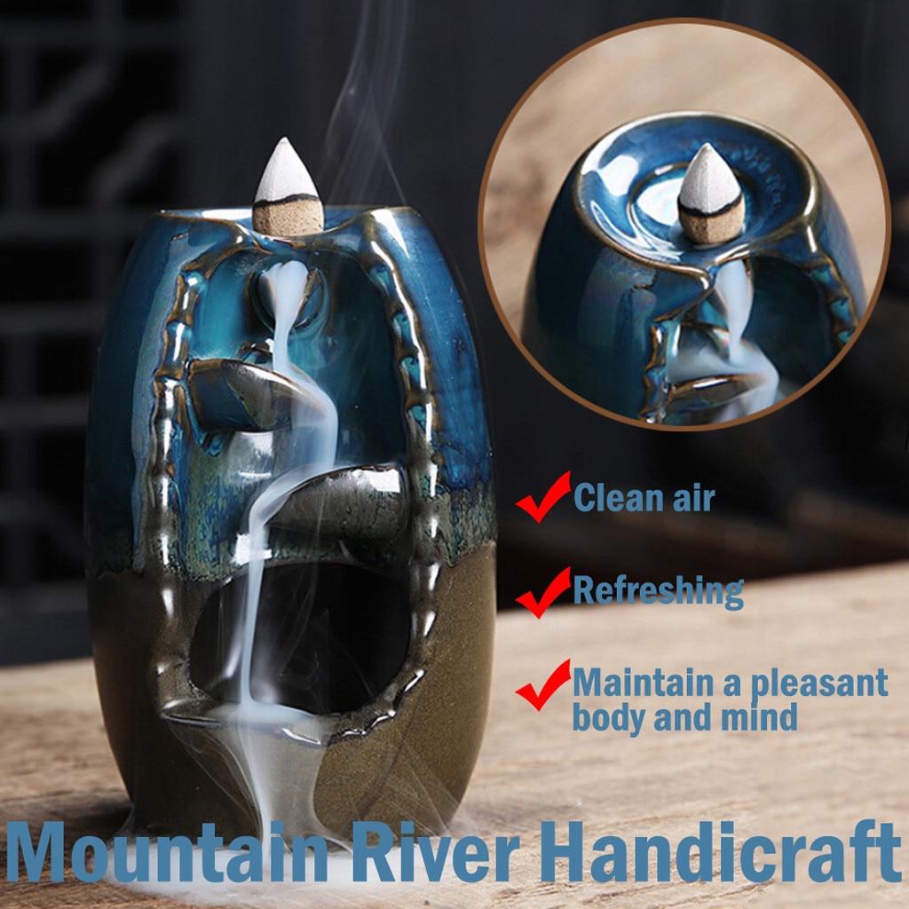 Permalink to Incense Burner Backflow Incense Ceramic Craft Incense Ddiffuser Office Mountain River Handicraft Incense Holder Mother gift