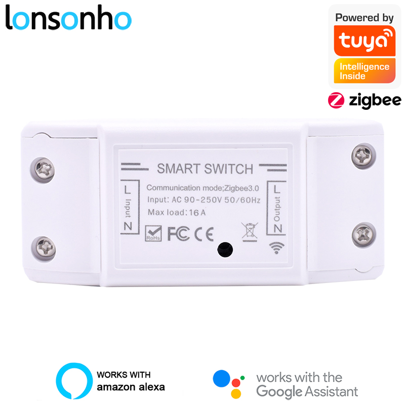 lonsonho interruptor inteligente controlador tuya zigbee 3 0 interruptores de luz rele 16a casa inteligente controle