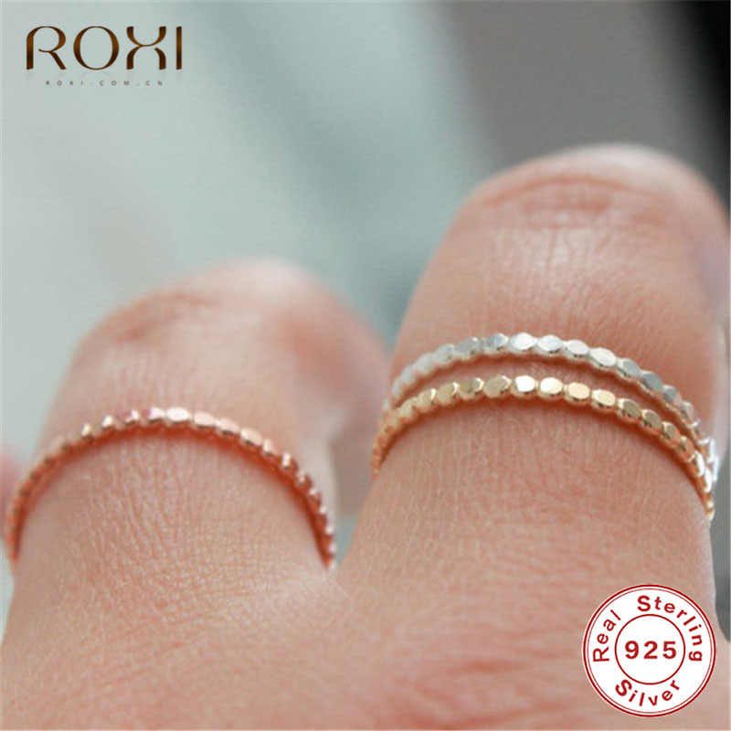 ROXI 925 Anelli In Argento Sterling per Le Donne Slim Stacking In Rilievo Anelli Wedding Band Eternity Impilabile Anello di Barretta Dei Monili del Regalo Della Ragazza