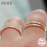ROXI 925 Sterling Silver Rings for Women Slim Stacking Beaded Rings Wedding Band Eternity Stacking Ring Finger Jewelry Girl Gift