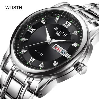 WLISTH Men's Fashion Waterproof Luminous Week Calendar Display Alloy Steel Strap Double Calendar Quartz Movement Wrist Watch