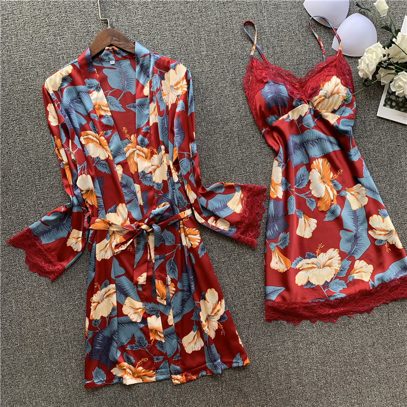 Smmoloa Spring Autumn Sexy Silk Two-piece Robe Sets Lace Nightgown Robe Set Sexy Sleepwear
