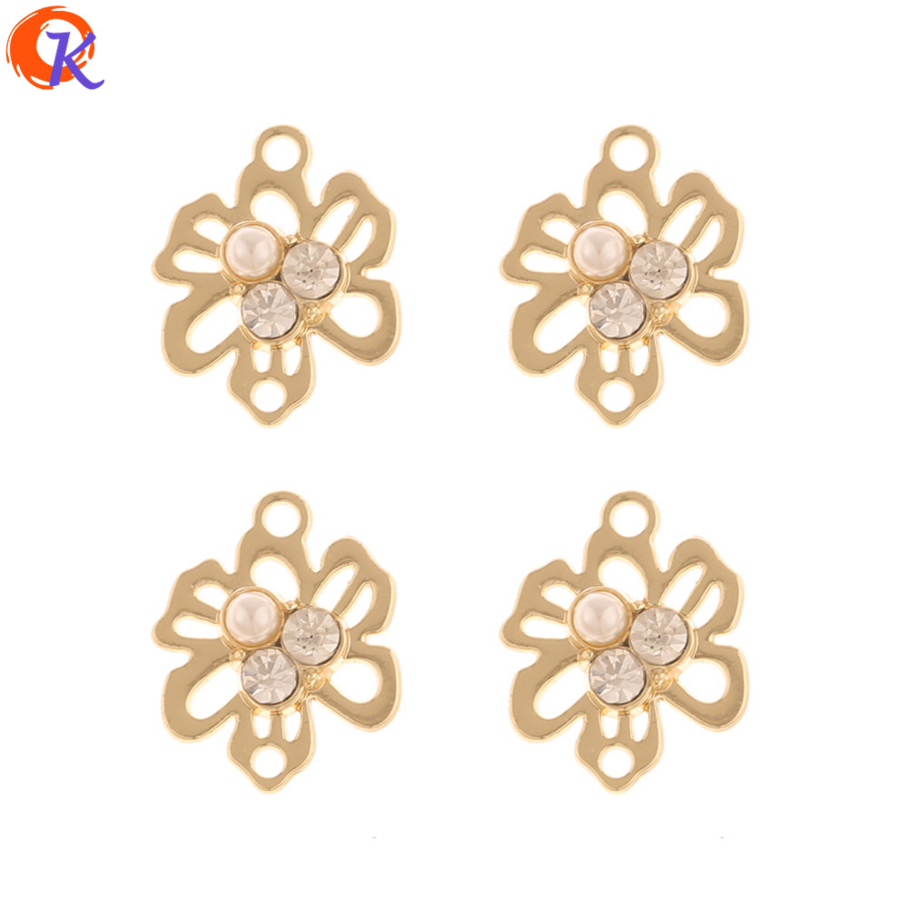 Cordial Design 100Pcs 14*17MM Jewelry Accessories/Rhinestone Earrings Connectors/Flower Shape/DIY/Hand Made/Earring Findings