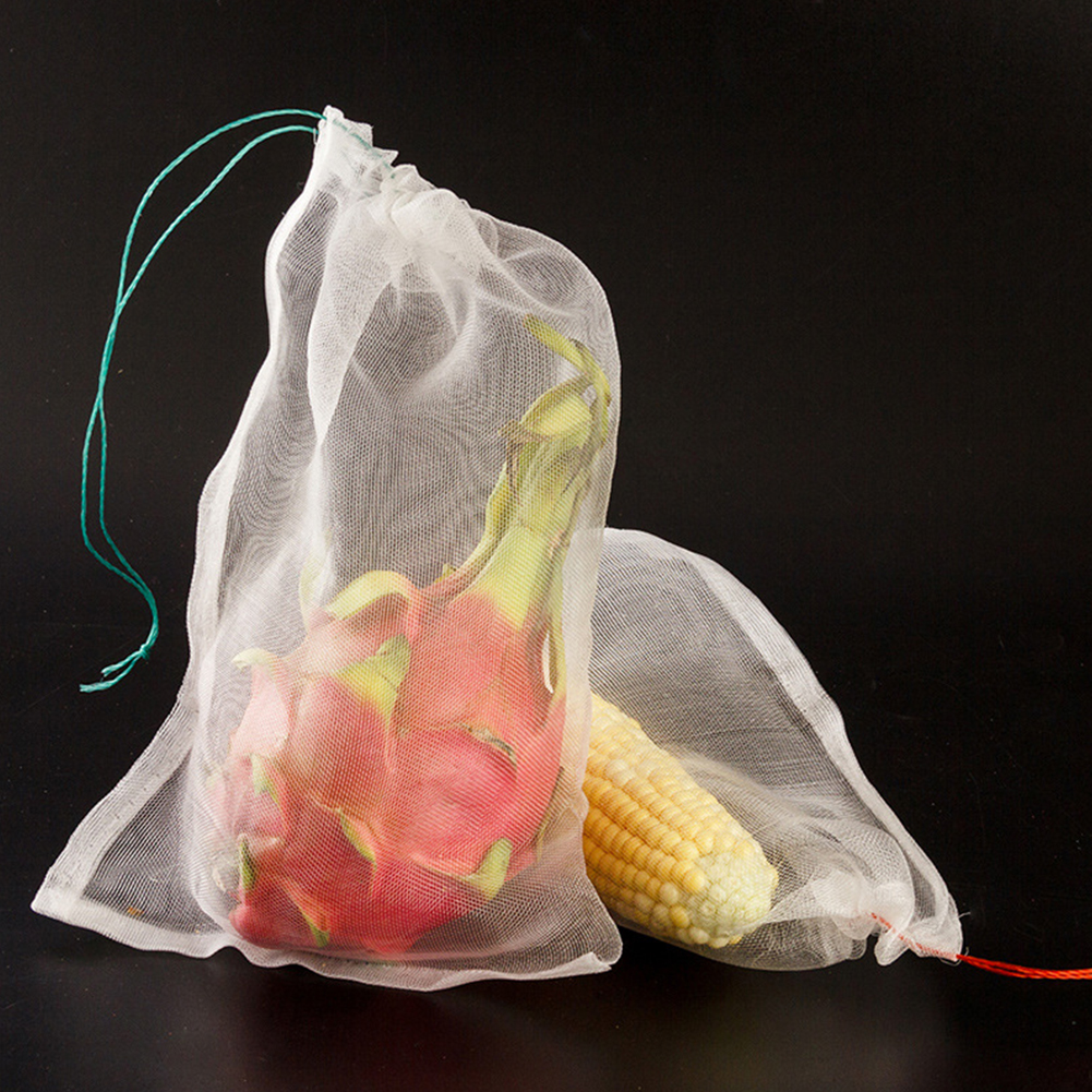 100Pcs Garden Plant Vegetable Fruit Protection Bag Sac White Anti Bird Nylon Mesh Drawstring Tool Set Fly Colander Pest Control