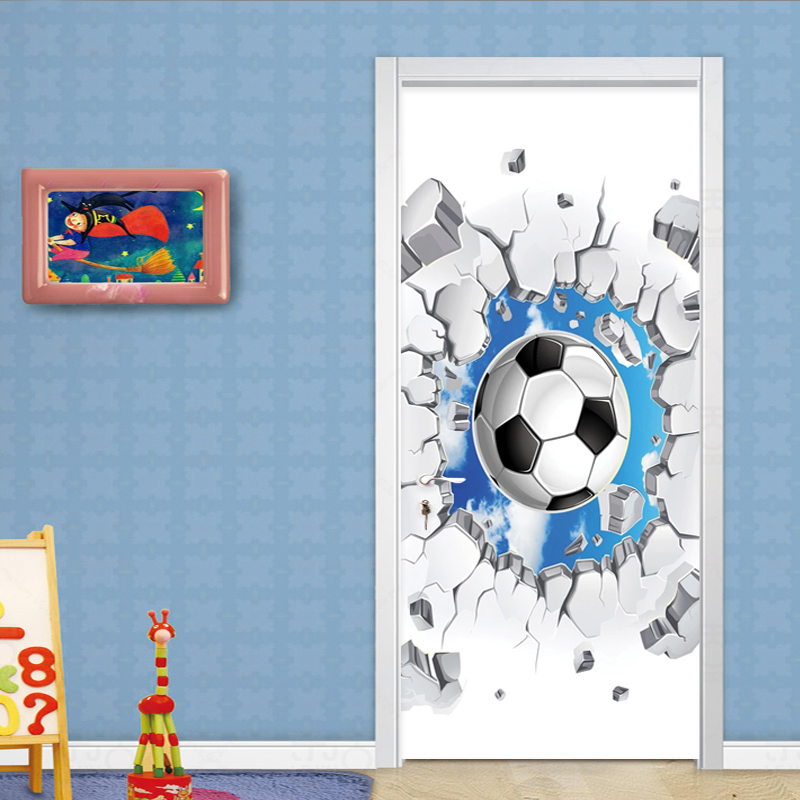 PVC Self-Adhesive Waterproof Door Sticker 3D Football Blue Sky Mural Wallpaper Children's Bedroom Home Decor Wall Sticker Poster