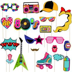Tinksky 21Pcs 80s Party Photo Booth Props Creative Party Favors Supplies Accessories