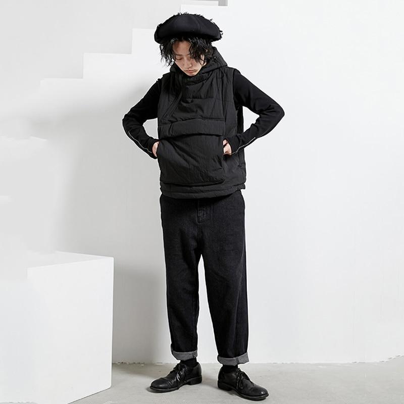 [EAM] femmes grande poche fermeture éclair grande taille coton rembourré coupe ample gilet nouveau à capuche sans manches mode marée printemps automne 2020 1N271 - 2