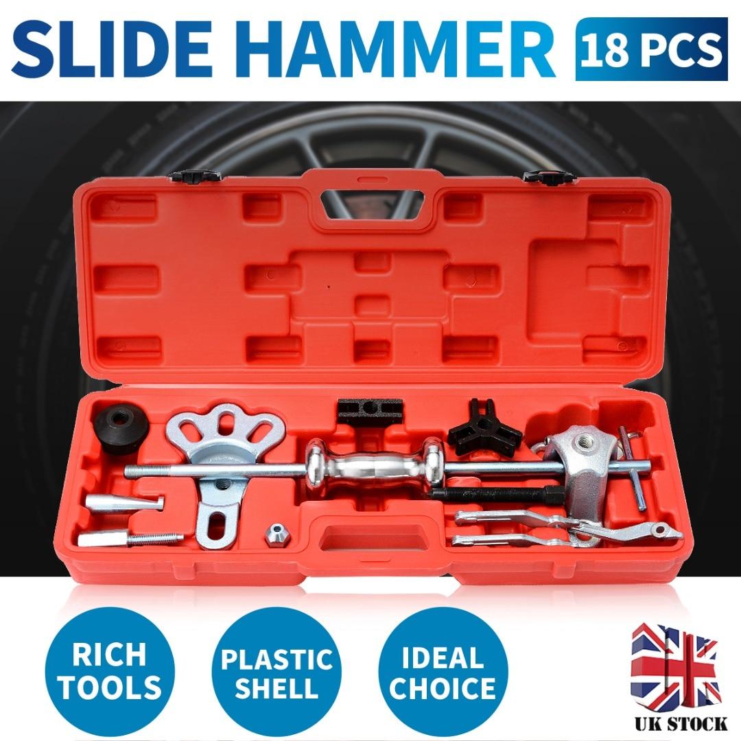 Slide Hammer Set Dent Bearing Puller Tool Kit Wrench Adapter Axle Hub Auto Set Internal/External Puller Bearing Remover Tool