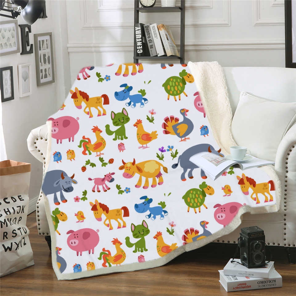 Dachshund Throw Blanket Cartoon Dinosaur Bedspread Brown Striped Sherpa Plush Bed Blanket 150x200cm Kids Bedding