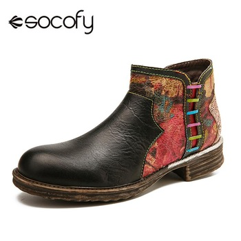 SOCOFY Retro Boots Watercolor Texture Splicing Genuine Leather Zipper Low Heel Boots Elegant Ladies Shoes Women 2020