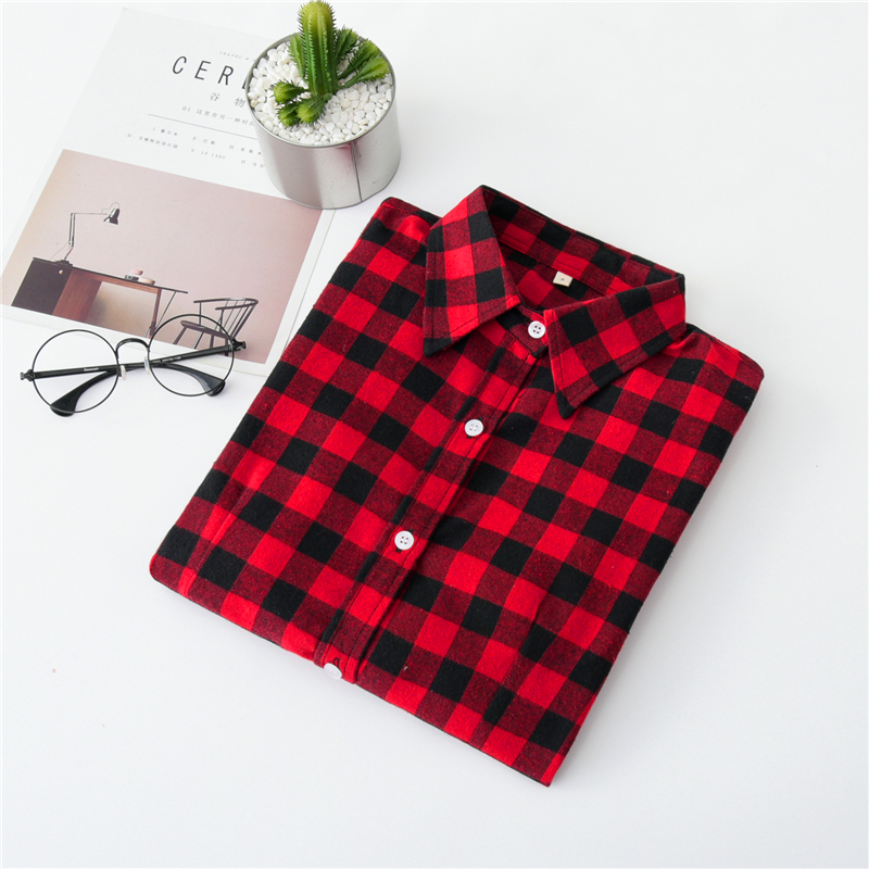 2020 New Women Blouses Brand New Excellent Quality Cotton 32style Plaid Shirt Women Casual Long Sleeve Shirt Tops Lady Clothes 16