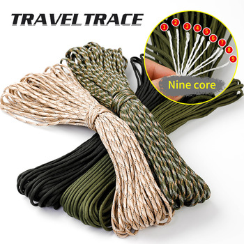 Paracord 550 Military Spec Type 9 Stand 2mm Lanyard Cores Rope Hiking Survival 4mm Parachute Cord Outdoor Clothesline Rescue 1