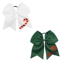 7 Large Hair Bows for Girls Cheer Christmas Printed Bowknot with Rubber Band Party Dance Kids Accessories