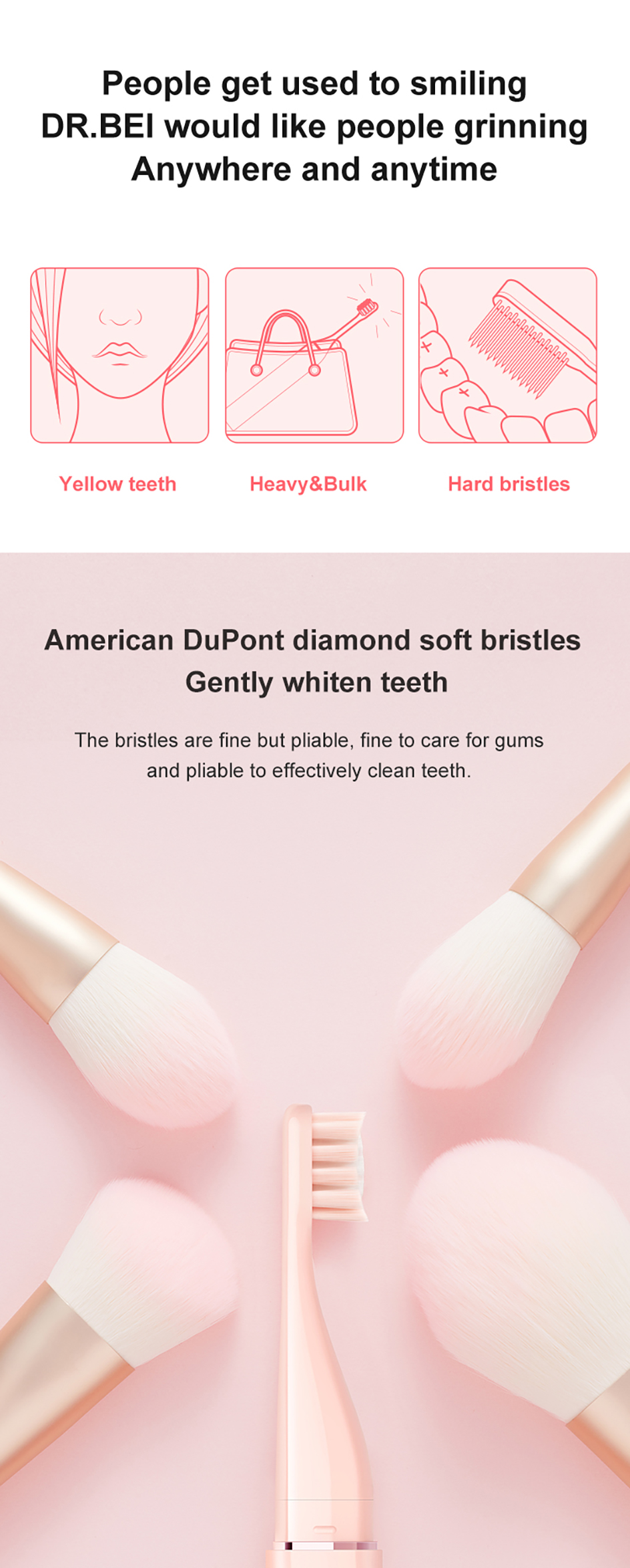recarregável softbrush viagem escova de dentes q3 dr. bei