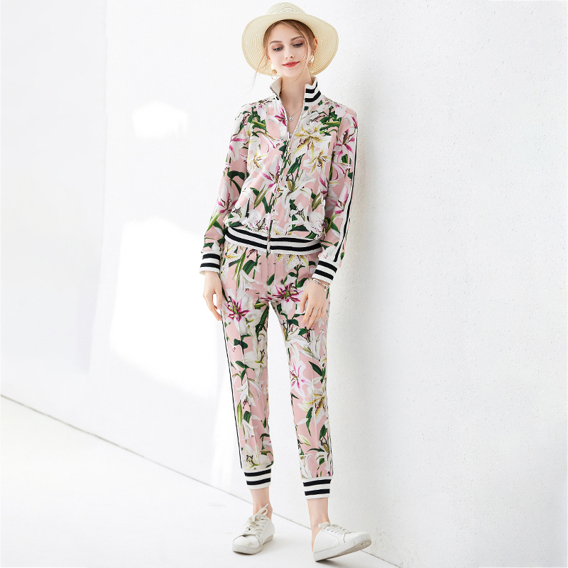 SEQINYY Causal Set 2020 Spring Autumn New Fashion Striped Long Sleeve Jacket + Elastic Slim Pants Romantic Lily Flowers Suit