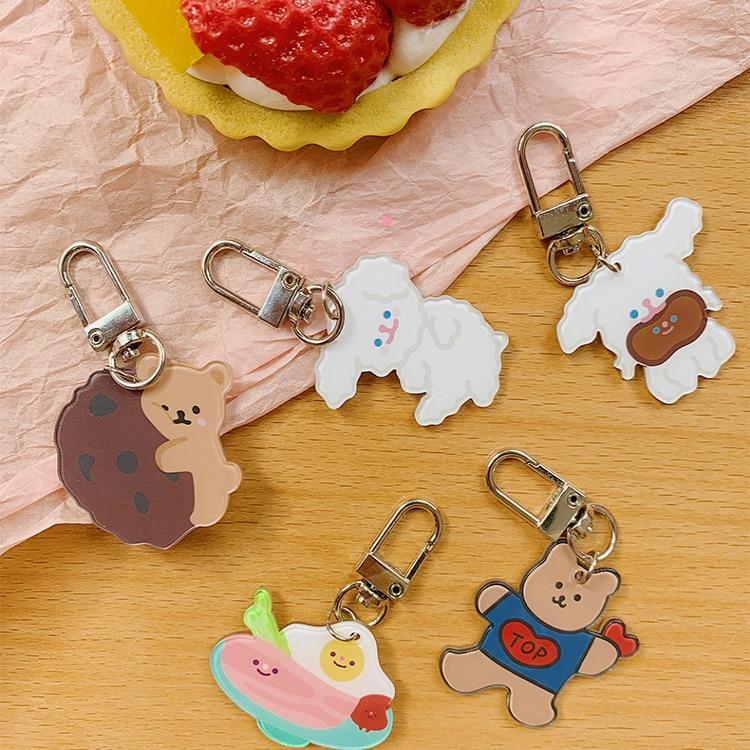 Women Cartoon Bear Key Chains Girls Bags Mini Hanging Accessories Car Key Ring With Animal Pendant