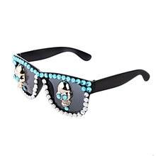 Halloween Glasses Sunglasses Fancy Costume Party Skull Bone Skeleton Crystal Sunglasses for Unisex Adult and Children