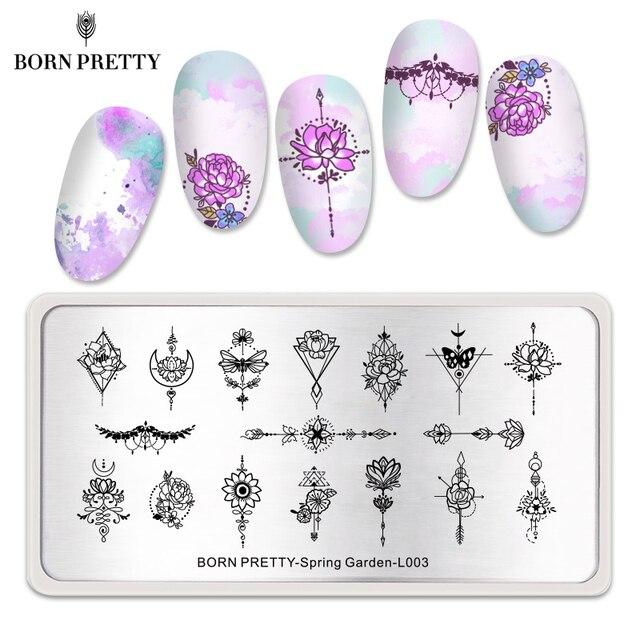 GEBOREN ZIEMLICH Mandala Serie Nagel Stanzen Platten Blumen Rechteck Nail art Bild Schablone Thema Vorlage