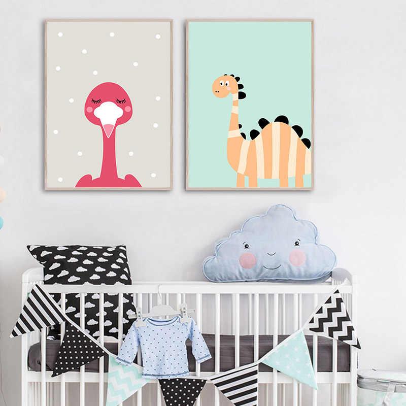 Kartun Lucu Hewan Penguin Monyet Nursery Poster Kanvas Seni Cetak Lukisan Dinding Nordic Anak-anak Kamar Anak Dekorasi Gambar