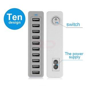 Image 3 - 10 портов несколько зарядных устройств USB зарядная станция устройство с разными портами устройство быстрой зарядки 5V10A 50W быстрое зарядное устройство EU/US/UK зарядное устройство для iPhone xiaomi