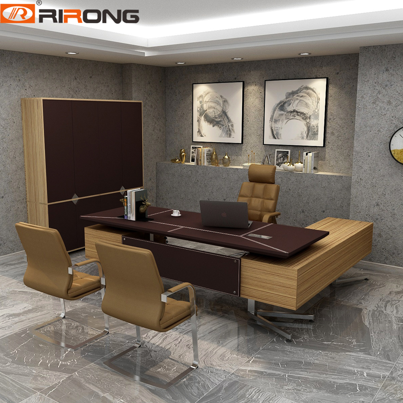 Modern Office Design Personal Office Complete Custom Brown Chocolate Office Furniture Wooden Manager Office Table Desk Set