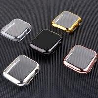 Para carcasa de reloj Apple 44mm 40mm iwatch 38mm 42mm accesorios amortiguador suave TPU protector de pantalla apple Watch Serie 5-4-3-6-Se