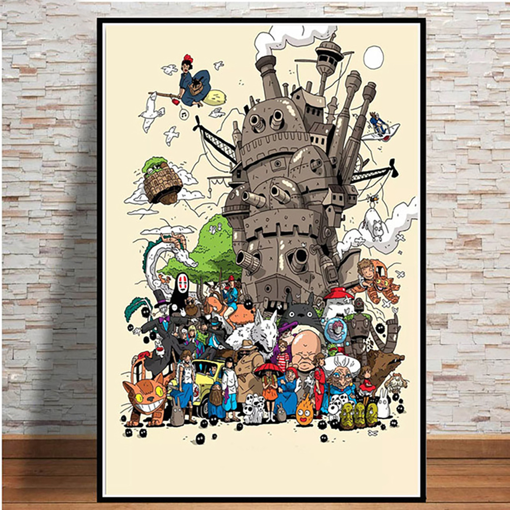 Home Decoration Modular Pictures Nordic Style Poster Japan Anime Hayao Miyazaki Movie Totoro Canvas Painting Wall Artwork Prints image