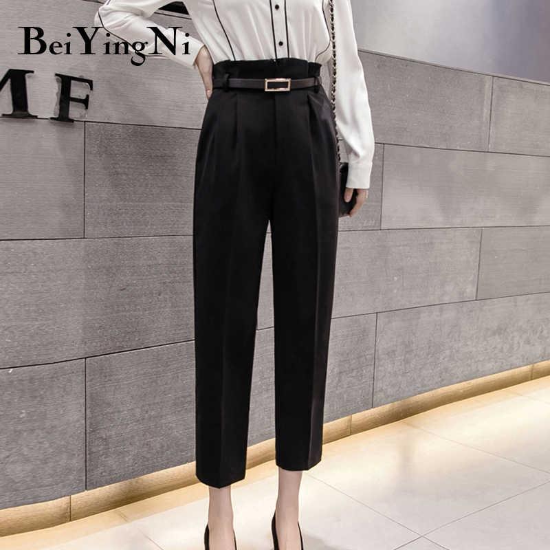 Beiyingni Pantalones Clasicos Elegantes Para Mujer Ropa De Oficina Con Bolsillos Otono 2020 Pantalones Y Pantalones Capri Aliexpress