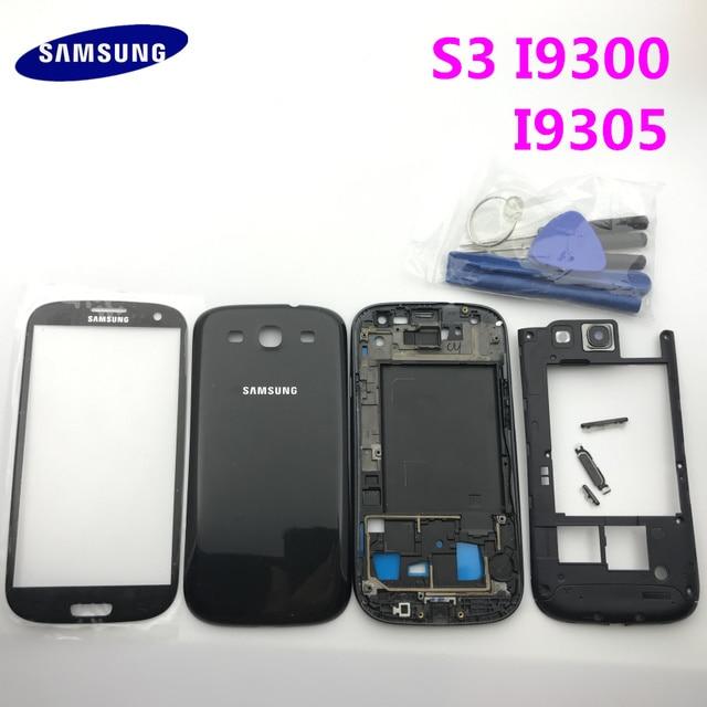 Części zamienne pełna obudowa pokrywa baterii + przyciski + Panel szklany do Samsung Galaxy S3 i9300 i9305 9300i + narzędzia