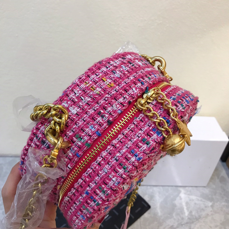 2019 Fashion Ronde Tas Vrouwen Circular Bag Vrouwelijke Schouder Crossbody Tas met Ketting Bell Sterren Geweven Handtas Vrouw Party Purse - 3