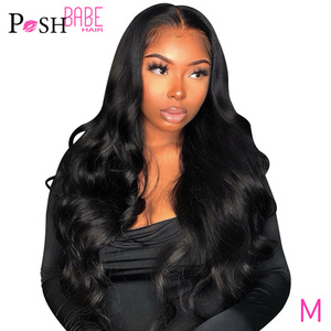 POSH BABE 13x6 Lace Frontal Wigs Brazilian Body Wave Lace Front Human Hair Wigs For Black Women Pre Plucked Hairline Baby Hair(China)