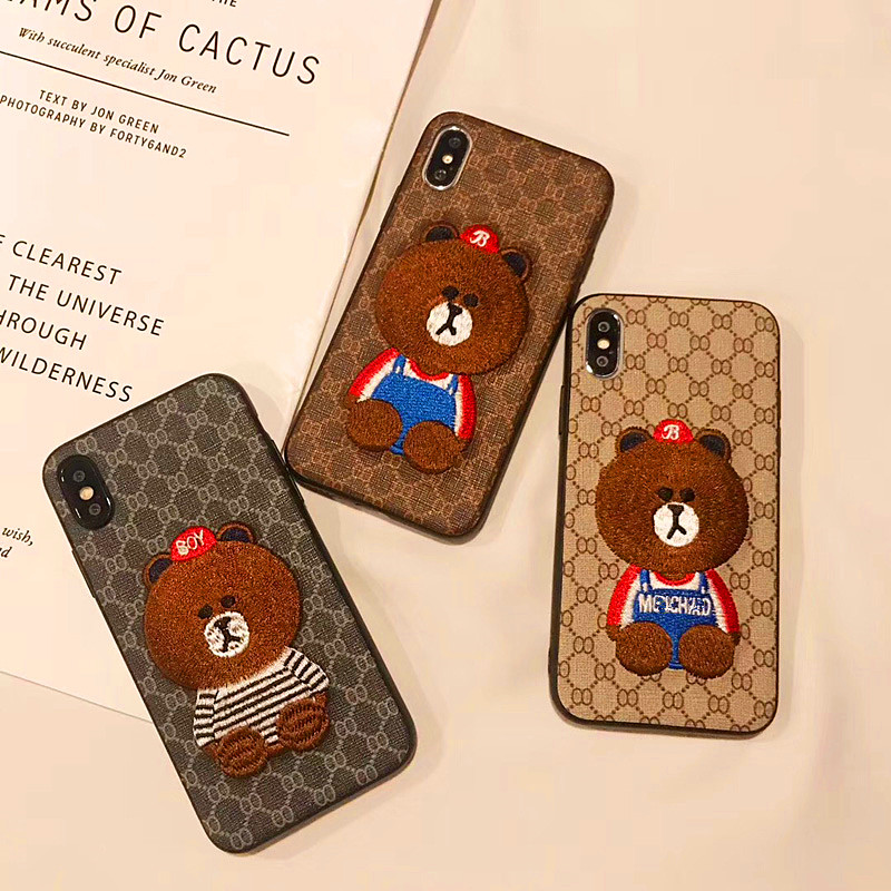 For iphone 11 pro max case Chinese style Embroidery lovely bear Phone Case For iphone 6 6s 7 8 plus and iphone x xr xs max image