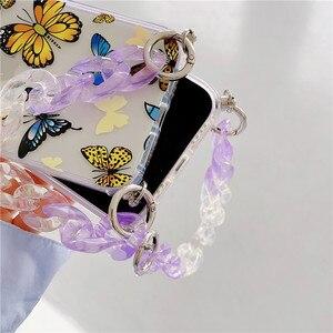 Image 5 - Custodie per telefoni con bracciale a farfalla sfumata per iphone 12 11 Pro XS Max X XR 7 8 Plus SE Mini Hand Chain Soft TPU Cover posteriore