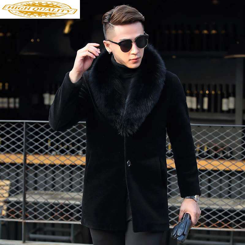 2020 Real Fur Coat Men Winter Sheep Shearing Wool Fur Jacket Korean Fox Fur Collar High Quality Fur Coats 801 KJ3714