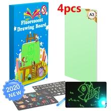 4pcs A3 Educational Toy Drawing Board Tablet Graffiti Led Luminous Magic Raw With Light-fun