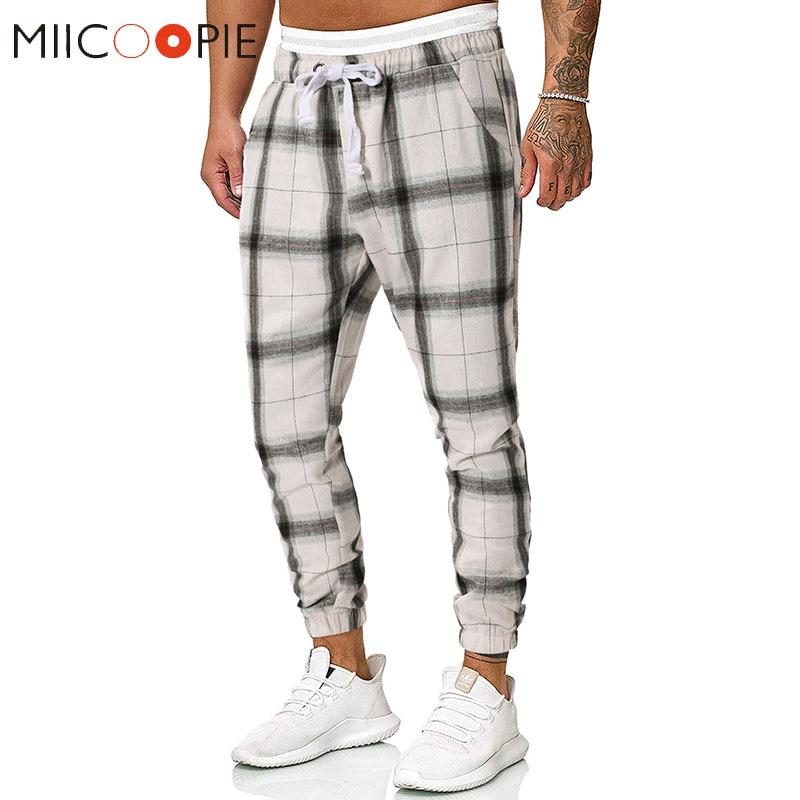 England Style Striped Plaid Pants Men Fashion Casual Cotton Elastic Hip Hop Joggers Men Trousers Fitness Sweatpants Streetwear