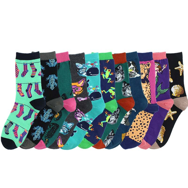Harajuku Happy Socks For Women Funny Cartoon Frog Dog Conch Whale Butterfly Pattern Breathable Cotton Socks Female