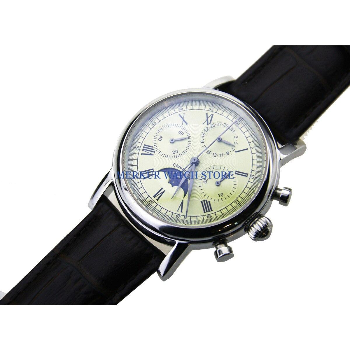 Geen logo Herenhorloge Mechanische Chronograaf Pilot 1963 Jurk Horloge Jurk Meeuw Beweging St1908 - 5