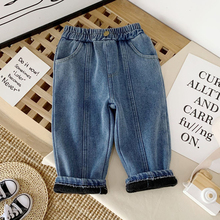 Children #8217 S Velvet Thick Jeans Winter Clothing New Style Korean Style Boys Warm Baby Casual Pants Kids Clothes Jeans For Girls cheap CN(Origin) Fits true to size take your normal size MX813-A Elastic Waist Unisex Solid Straight