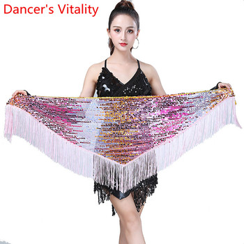 Belly Dance Practice Hip Scarf Women Oriental Indian Dancing Belt 7 Colors Sequin Tassel Waist Chain Competition Training Outfit - discount item  53% OFF Stage & Dance Wear