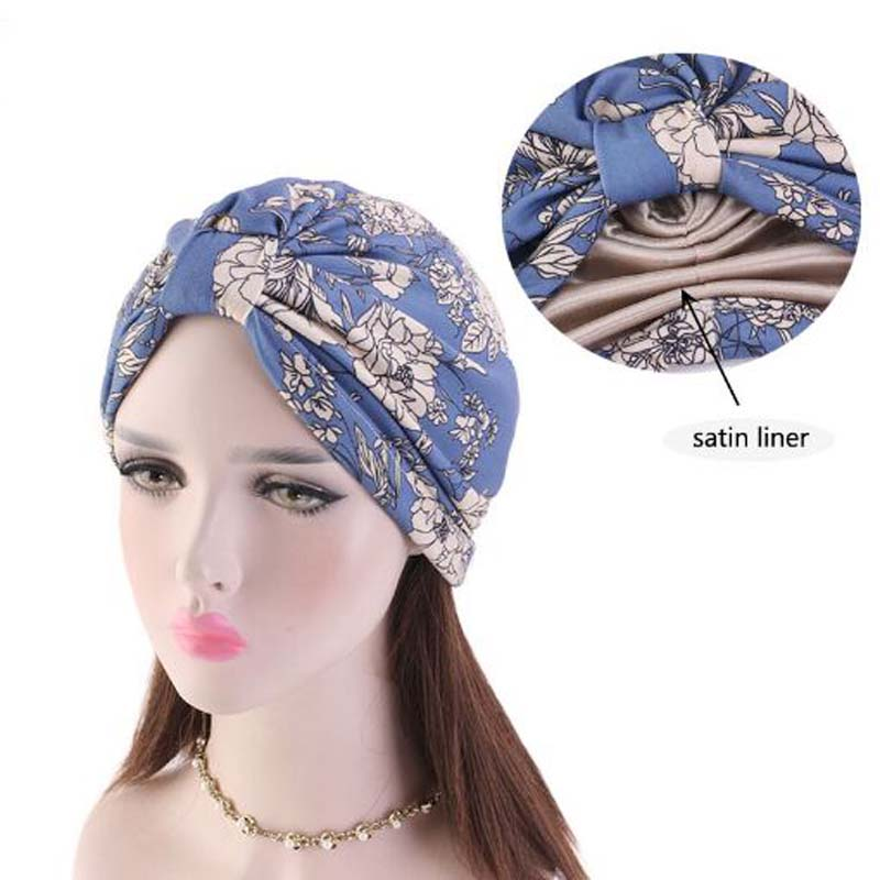 National Wind Flower Lined With Color Butyl Skullies Beanies Spring Autumn Brand Cotton Hats For Women Turban Chemotherapy Cap
