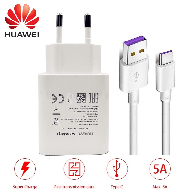 HUAWEI Wall-Adapter Mate Supercharge P20 Travel Type-C Quick USB 1 20pro 9 5A Kabel Originele