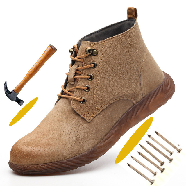 Rubber Anti Hit Steel Toe Cap Safety Short for Men Comfortable Protect Feet Work Safety Shoes Casual Men Shoes Leather